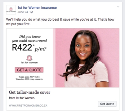 1st for Women Facebook Ad - Get Quote