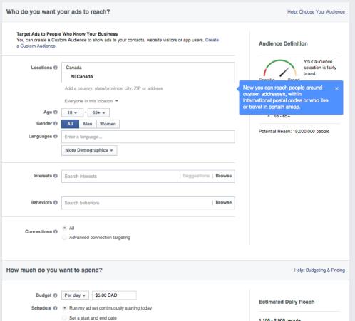 Facebook target audience page