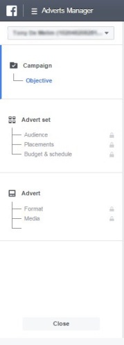 Facebook Ad manager tab